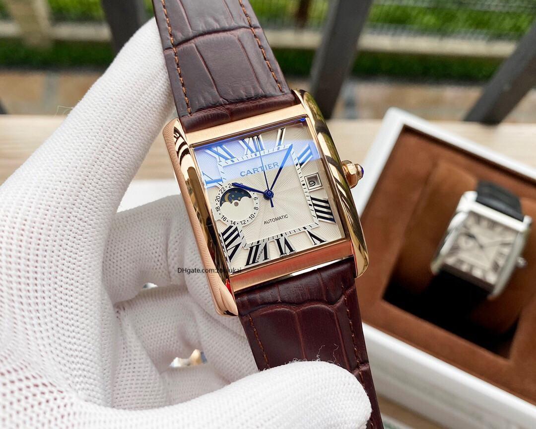 2019 2020 hochwertige Luxus-Designer-Marke Joker Leder Tank Uhrmens Quadrat automatische Bewegung Männer Uhren