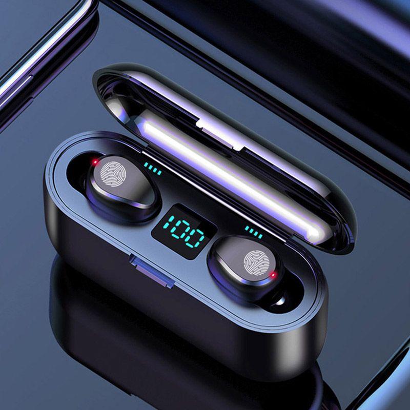 무선 이어폰 블루투스 V5.0 F9 TWS 헤드폰 HF 스테레오 이어폰 LED 디스플레이 터치 컨트롤 2000MAH 전원 은행 헤드셋과 마이크 DHL