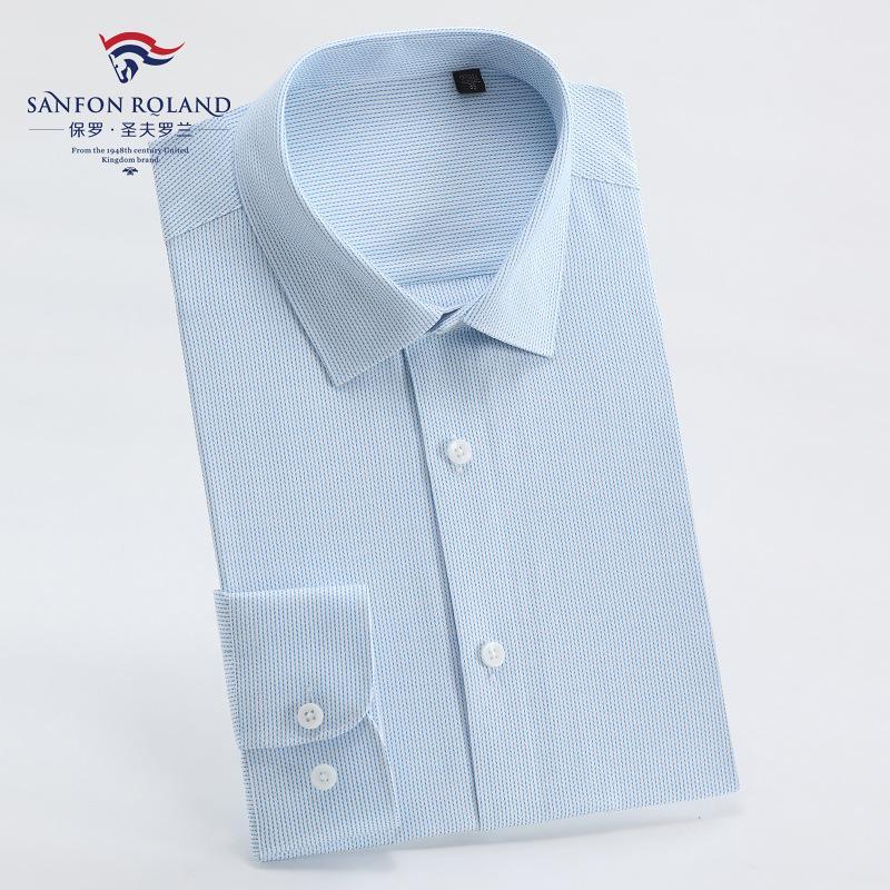 ملابس أعلى نوعية الرجال الدرجة العليا القطن الخالص موانئ دبي جاهزة للارتداء قميص رجالي كم طويل تريم الأعمال الصلبة لون اللباس الرسمي قمصان M7