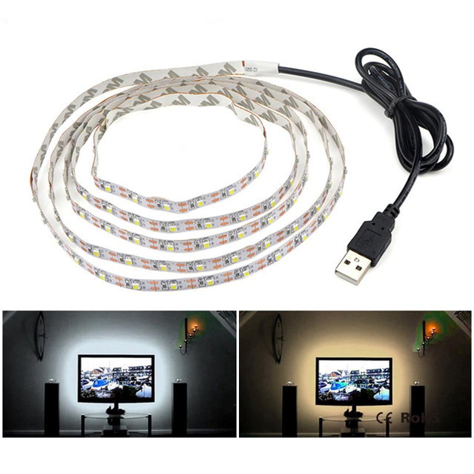 USB LED Strip Light Lamp 2835SMD DC5V Flexible Tape Ribbon 0.5M 1M 2M 3M 4M 5M HDTV TV Desktop Screen Backlight lighting