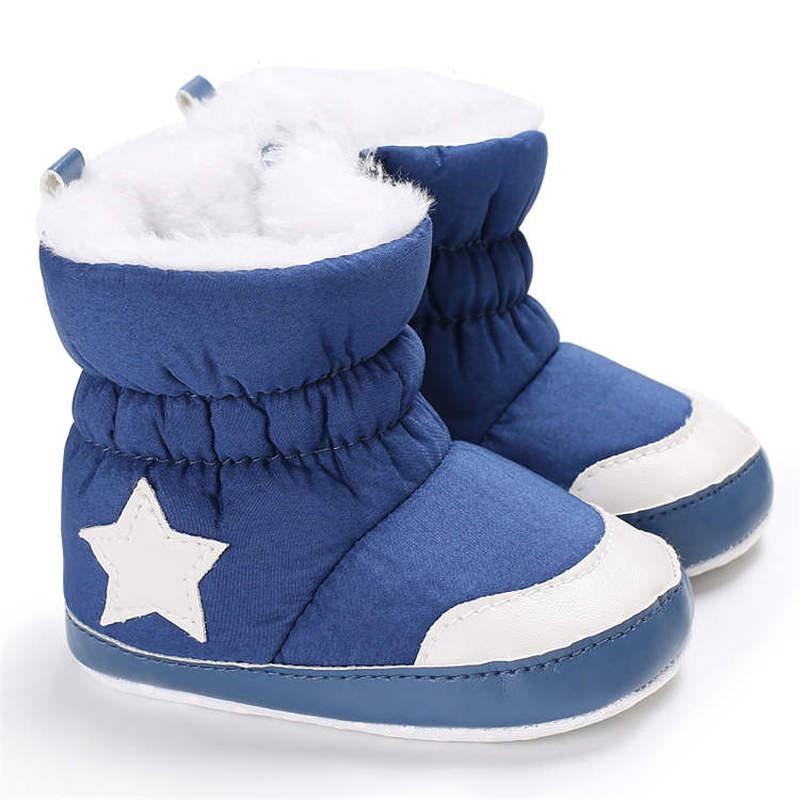 2019 أحذية الرضع حديثي الولادة الثلوج في فصل الشتاء وايت ستار الدافئة في الأماكن المغلقة لينة وحيد القطن عدم الانزلاق أحذية طفل الطفل الأولى حمالات