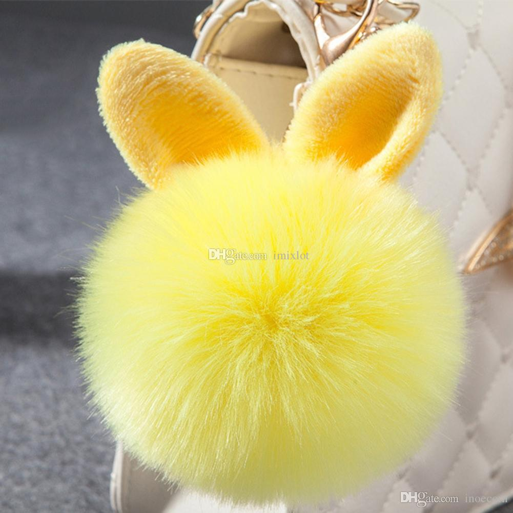 Cute Rabbit Ears Faux Fox Fur Fluffy Keychain For Girls Pompom Handbag Charms Pendant Key Chain Keyring Key Holder 10 Colors