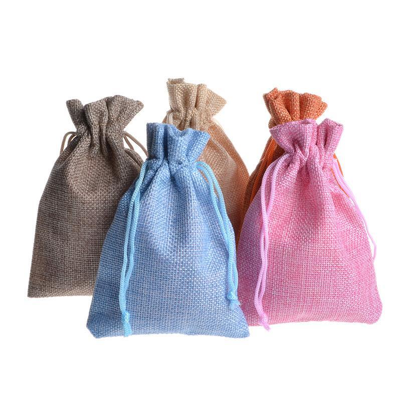 500PCS 9.5 * 13.5CM فو الجوت الحقيبة الرباط الخيش الطبيعي هسه حقيبة مع حبل القطن اليدوية الصابون هدية مجوهرات حزمة حقيبة بواسطة DHL