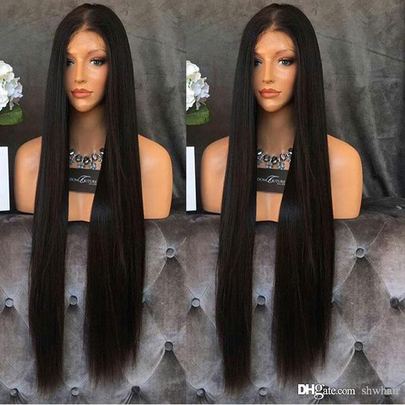 Recta larga sintética del frente del cordón pelucas barato para las mujeres Negro sin cola de fibra de alta temperatura peluca de encaje media parte con el pelo del bebé