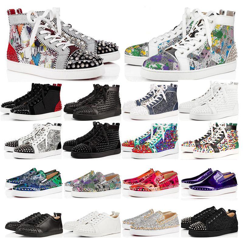Nuevos zapatos de lujo de cuero con tachuelas Spikes Moda Red Suede para hombre de la zapatilla de deporte para mujer plana Bottoms Zapatos amantes de la fiesta Tamaño 36-48 con la caja