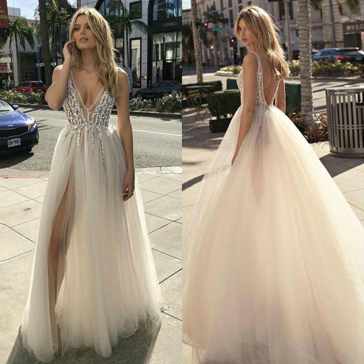 Discount Berta Designer Beach Wedding Dresses 2019 A Line V Neck