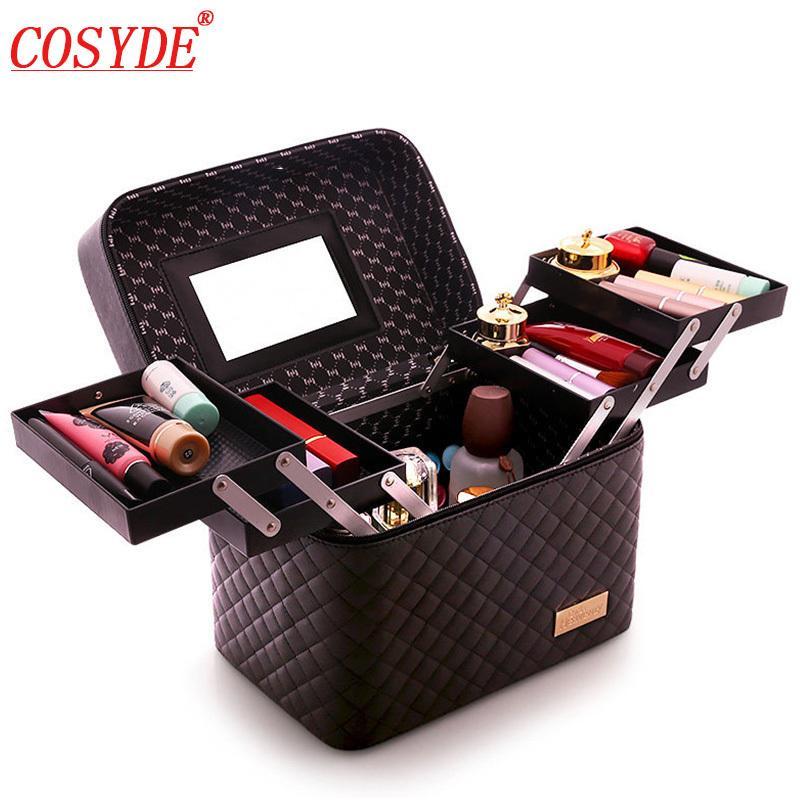 Maleta de maquillaje profesional de gran capacidad para mujeres, artículos de tocador multicapa, bolsa de cosméticos, organizador, estuche de belleza portátil, caja de almacenamiento