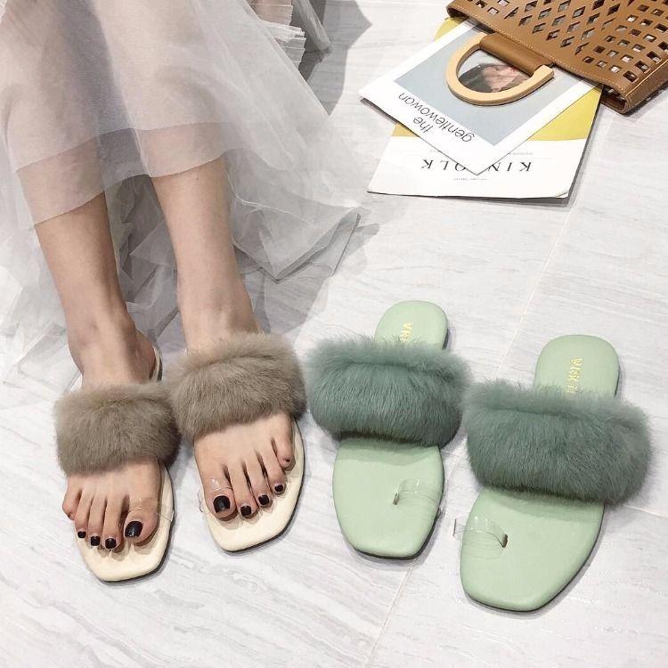 Cheveux de lapin d'automne Sexy2019 tendance fond plat fée fonds confortable loisir femme pantoufle fraîche