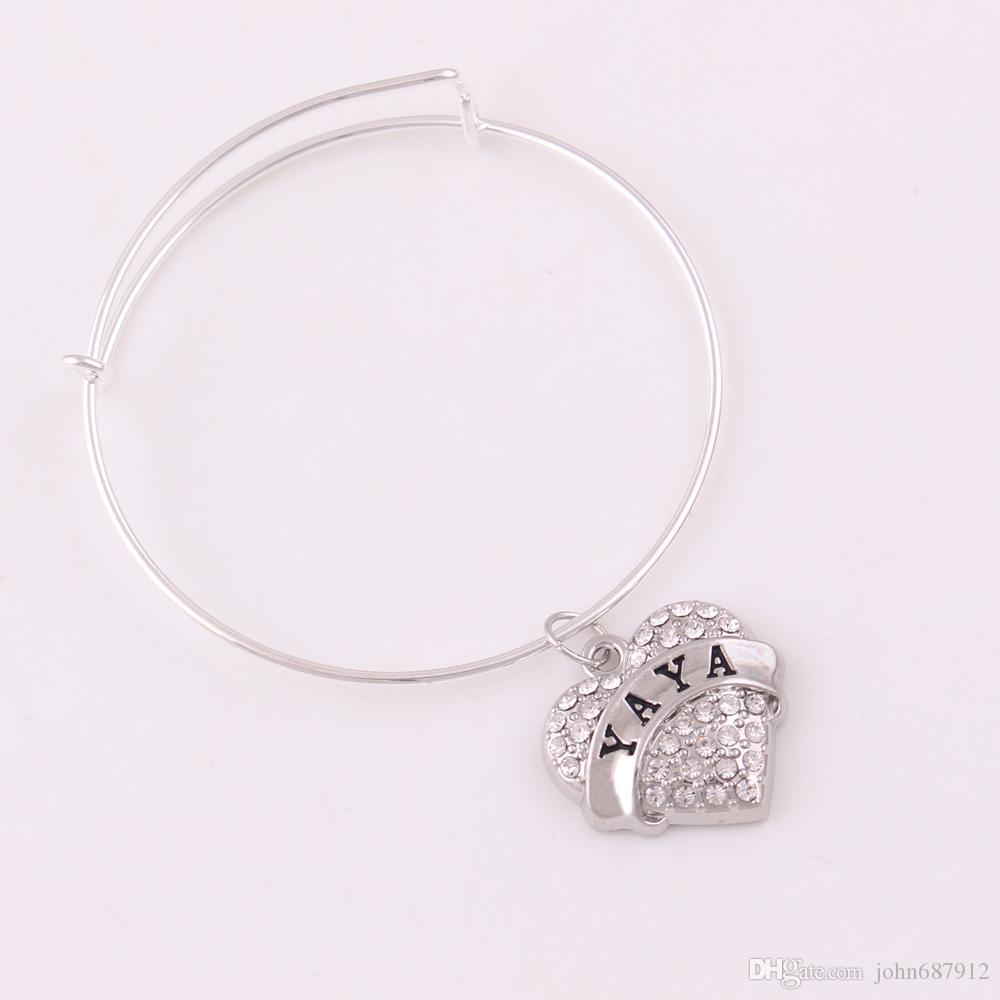 TX018 fashion line crystal POM bracelet cheering jewelry YAYA heart unique handmade bracelets for best friend gift