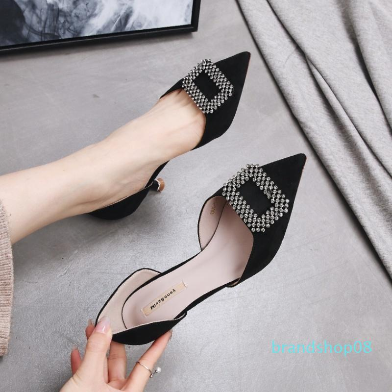 Crystal2019 Baotou With High Sandals Woman Fine With Rhinestone Ins Tide Exceed Fire Sharp Single Shoe Cavity Joker