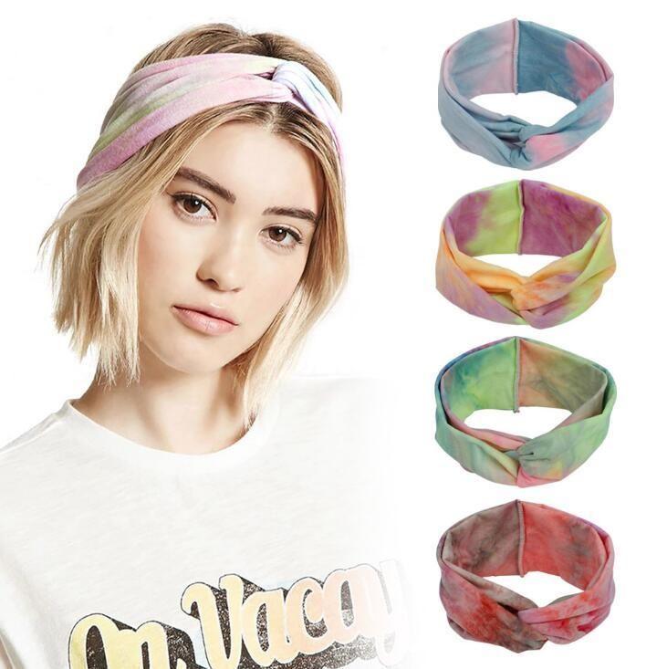 Европейские и американские дамы группы Богемного стиля новых эластичные спортивных волос галстук-краситель перекрестие повязки оголовья