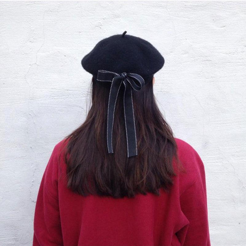 New Stylish Handsome Women's Ladies PU Leather Beret Harajuku Wool Basque Beret Solid Letter Hat With Bowknot Black Hats Brerets S18120302