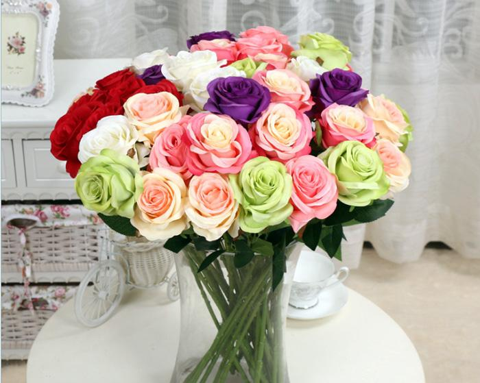 Free Shipping New Charming Beautiful Pretty Artificial Wedding Bouquets Spring Rose Flowers Floral Wedding Home Hotel Desk Decor