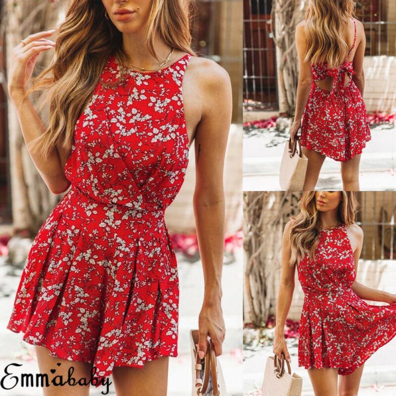 Frauen Urlaub Floral Playsuit Romper Damen Overall Strand Backless Minikleid Red Night Club Kleid 2019 Sommer Frauen Kleidung