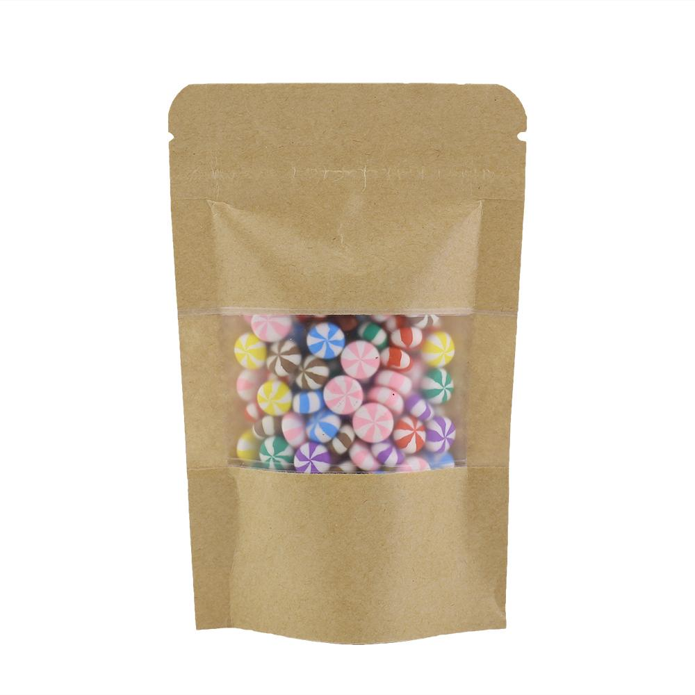 """High Quality 10x15cm (4x6"""") Thick Tear Notch Zip Lock Pouch Stand Up Kraft Paper Bag For Herb Coffee Bean 100pcs"""