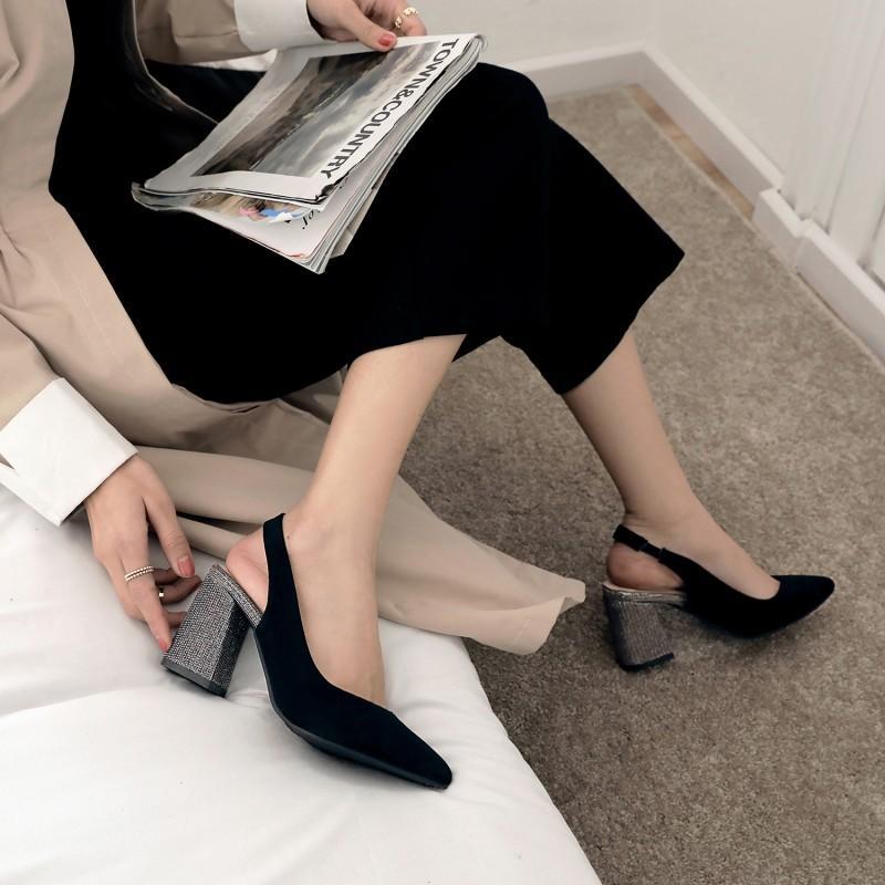 Платье обувь Дамы высокие каблуки толстые пятки женщины женщина насосы большой размер до 28 см заостренный наконечник сверкает каблук