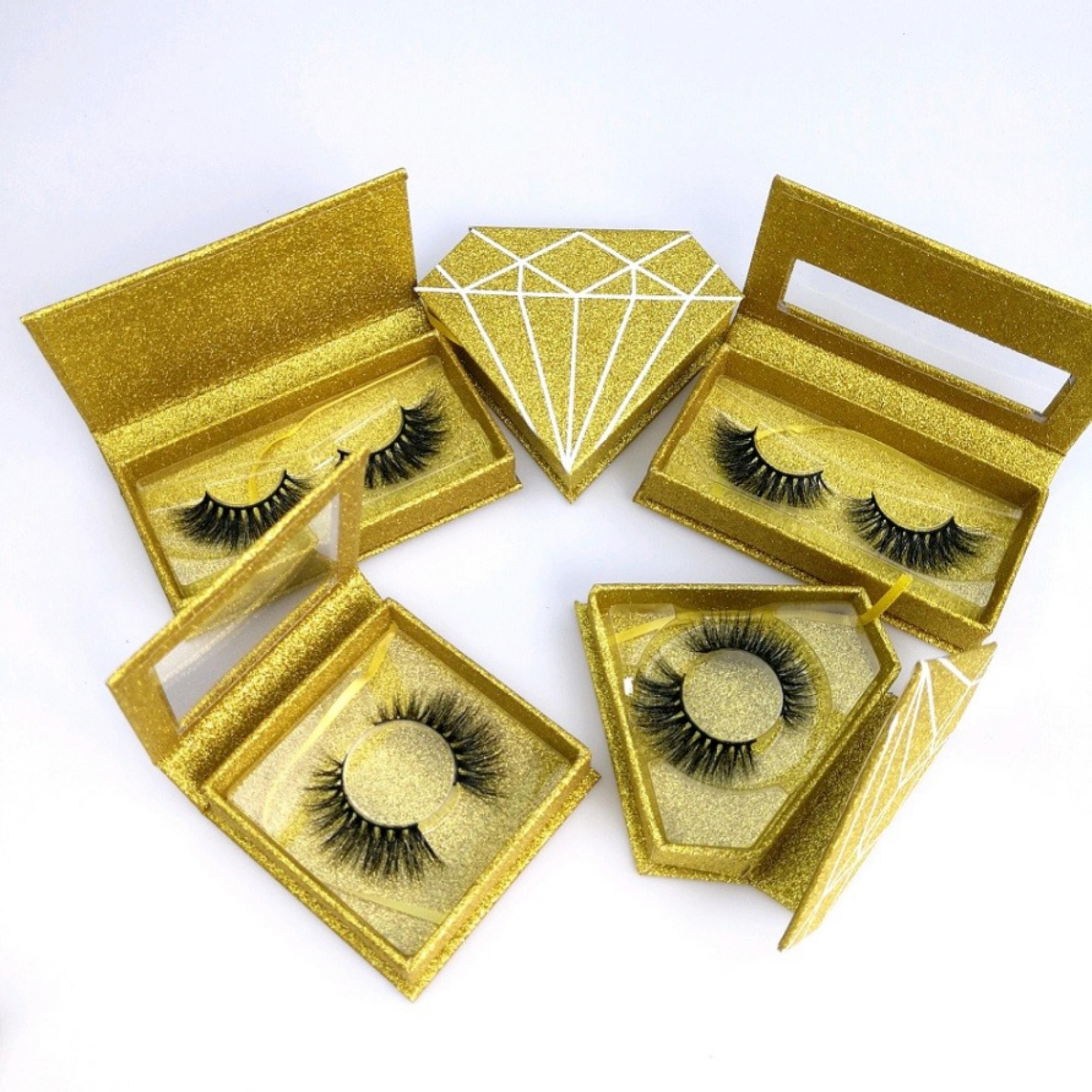 Sarı Hediye Kutusu 3D 14mm Vizon Kirpikleri Göz makyajı 5D 25mm Yanlış Göz Yumuşak Sahte Lash Uzantıları Güzellik Araçlar Drop Shipping Karışık kirpikler
