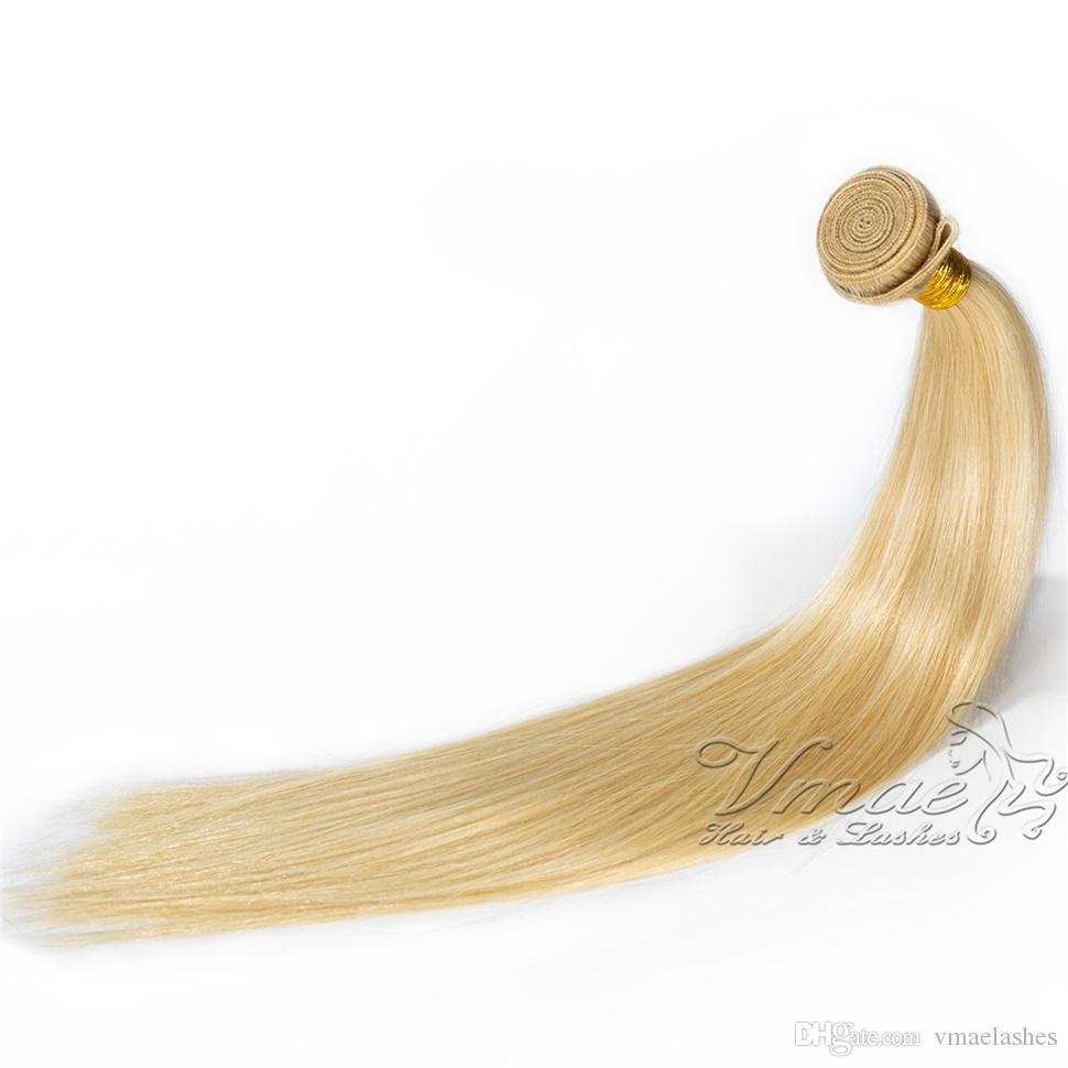 VMAE # 613 شقراء الأوروبي العذراء مستقيم لحمة الشعر التمديد 12-28 بوصة 3 حزم لينة الطبيعية 100٪ غير المجهزة ريمي ينسج الشعر الإنسان
