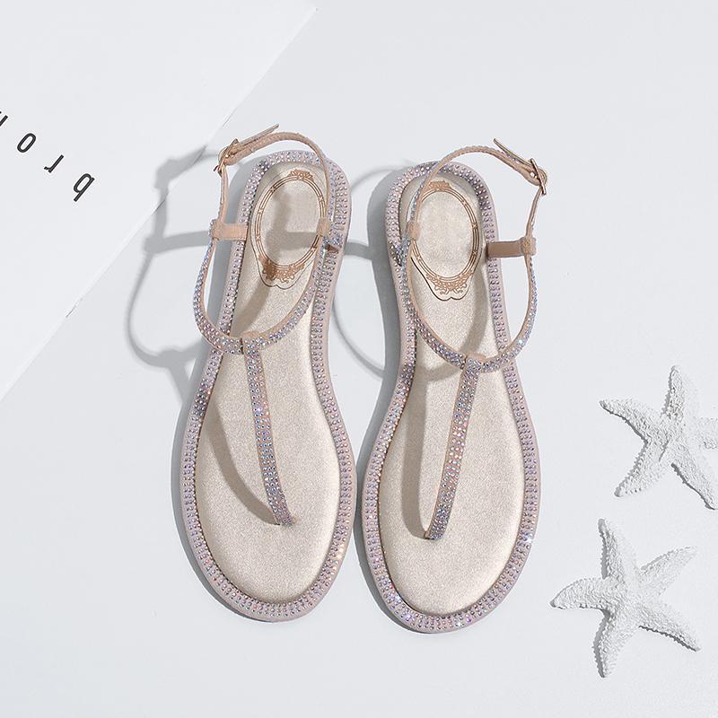 Сандалии 2019 лодыжки ремень обувь женщины плоские сандалии Кристалл группа летняя обувь девушка шлепанцы большой размер Богемия bnh7