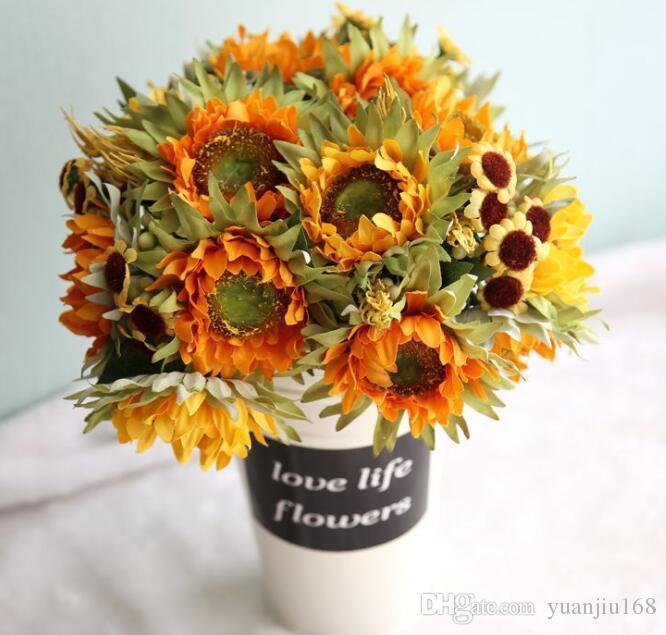 Beauty Fake Sunflower Artificial Silk Flower Bouquet Floral Wedding Home Decors