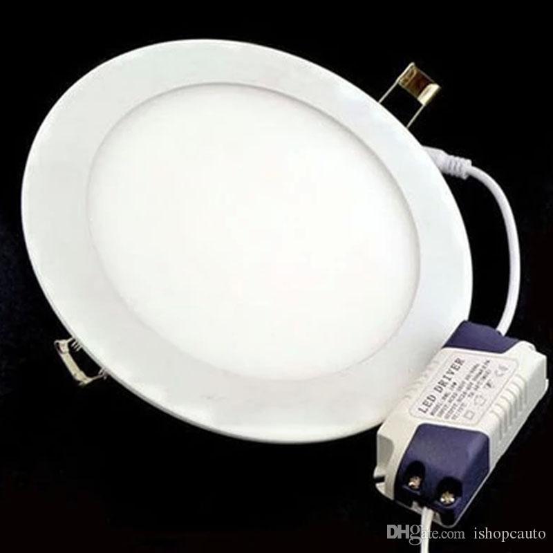 6W أدى راحة دوونلايتس مصباح رقيقة جدا لوحة الصمام الاضواء جولة 85 ~ 265V مصباح السقف الأبيض الدافئ مصباح شحن مجاني