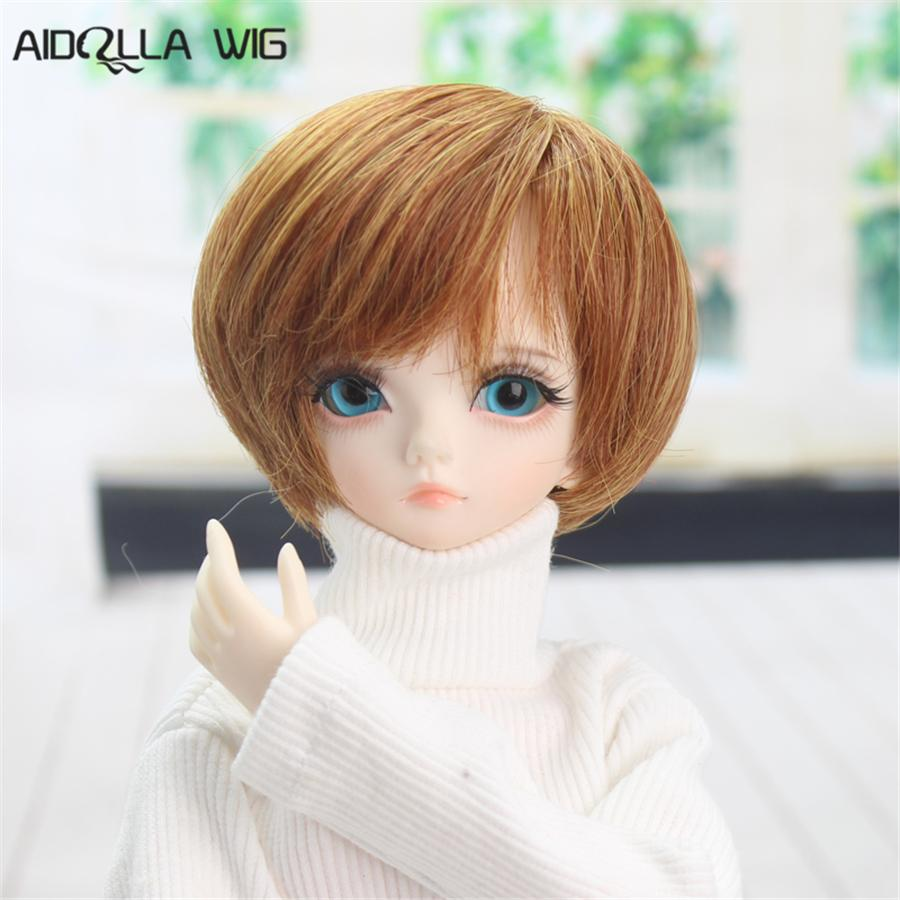 Doll Accessory Bjd Wig 7-8 Inch 1/4 High-temperature Wig Boy Short Hair Doll Wigs with Bangs Fashion Type Stylish Hair