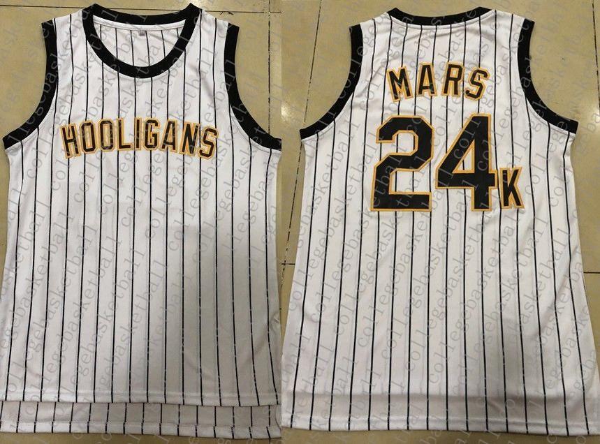 Дешевые пользовательские Бруно Марс 24k хулиганы сшитые Белый баскетбол Джерси настроить любое число имя XS-5XL