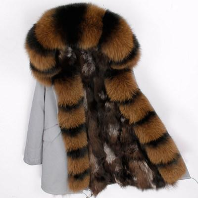 Lavish brown fox preto guarnição da pele Placket maomaokong marca lasca fox preto forro de pele mulheres parka longa cinza