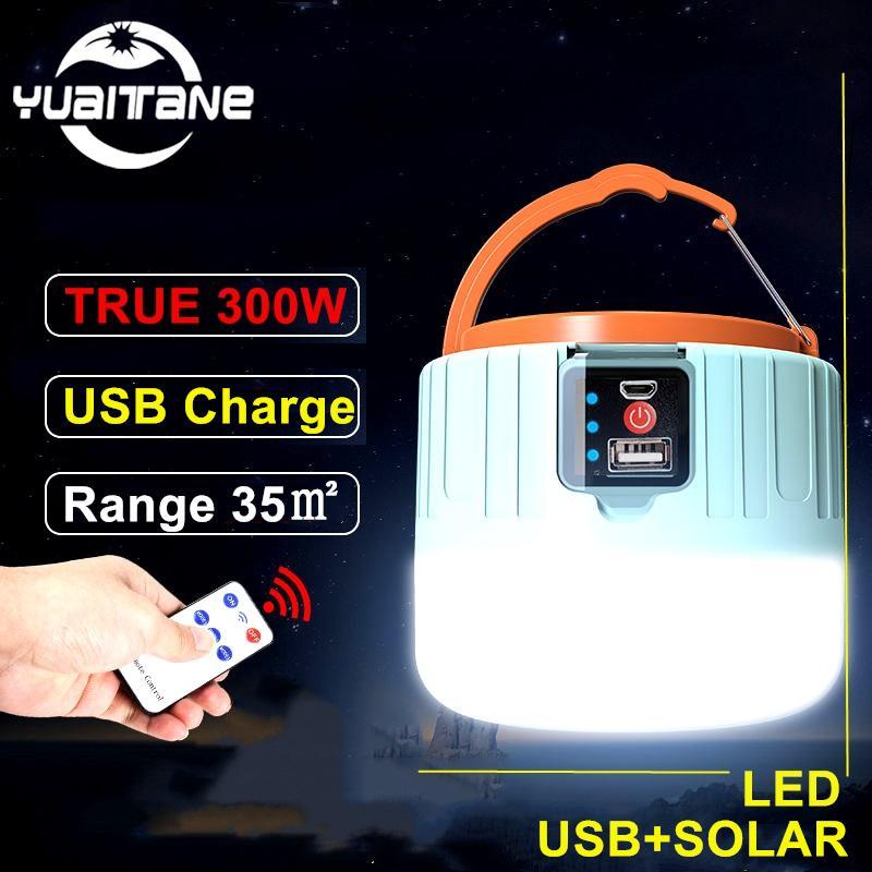 Barbekü Yürüyüş İçin Açık Çadır Lambası Taşınabilir Lanterna Acil Işık 300W Güneş Enerjisi LED Kamp Işık USB Şarj edilebilir Ampul