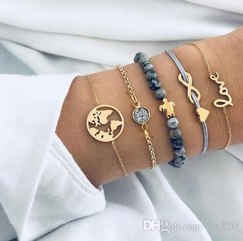 5 Pcs/ Set Punk Turtle Map Heart Letter Love Crystal Beads Chain Multilayer Pendant Gold Bracelet Set Charm Girl Jewelry Gift