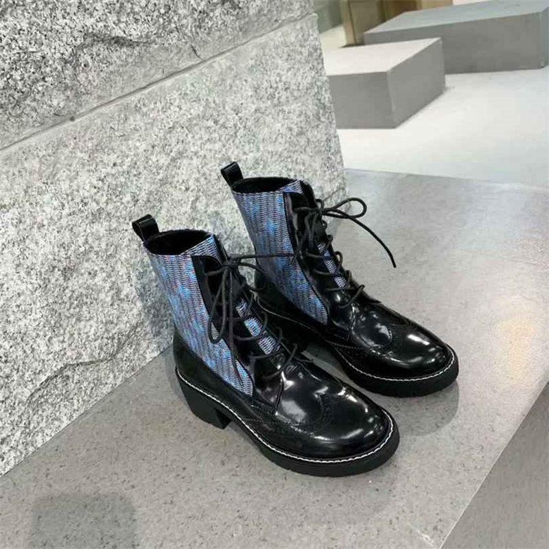 2019 mujeres del diseñador de la marca de lujo de moda los zapatos del diseñador de moda de lujo de las mujeres botas para mujer del talón del cuadrado de las mujeres zapatos de vestir medios cargadores