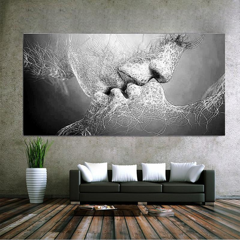 New Fashion Black & White Love Kiss Abstract Art on Canvas Painting Wall Art Picture Print Home Decor (Without Frame)40cm*60cm