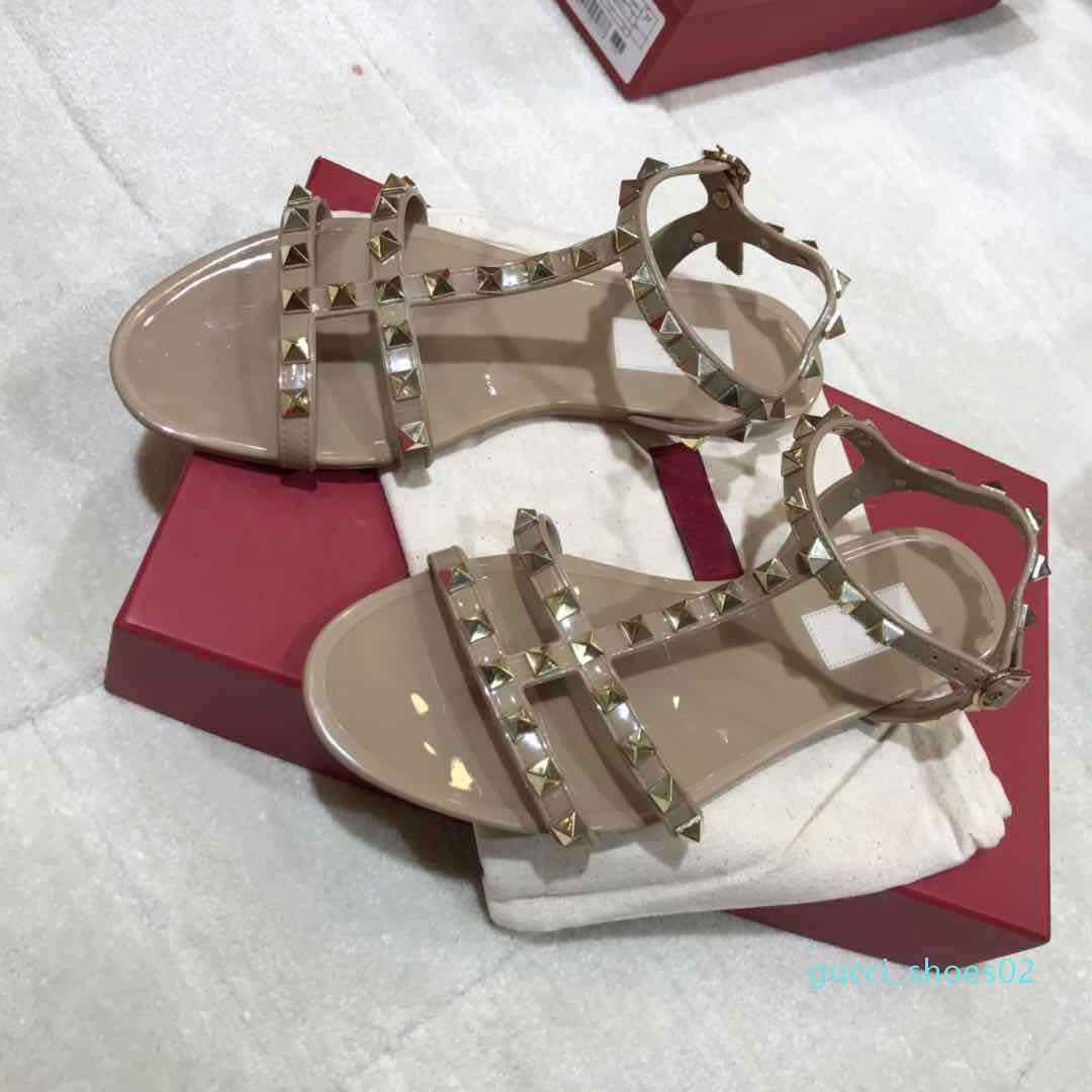 Moda Donna di lusso della Sandali Rivetti grande Bowknot della spiaggia di estate Sandali Femininas Sandale piatto Jelly Sandals formato 35-40 g2