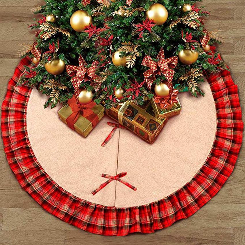 Arbre de Noël Jupes Bowknot Patchwork Maison Pad Rouge Treillis Lin Ornement Festival Fournitures Décoration ZZA1115 12 pcs