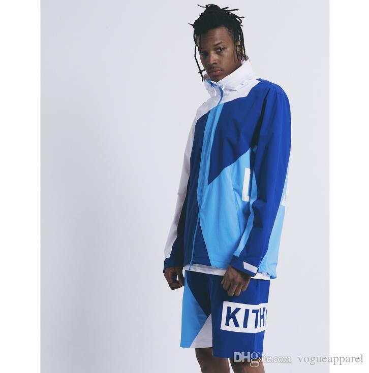 MENS Дизайнер одежды Jacketd Kith Горячие Продажи Синий Красный Контрастный Цвет Ветровка Уличная Одежда Свободная Хип-Поп Куртка