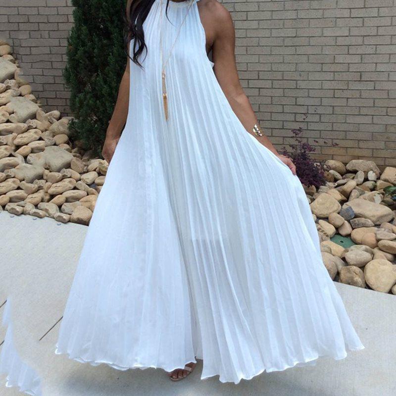 Vestiti lunghi solido blu bianco pieghettato maxi vestito delle donne 2019 sexy fuori dalla spalla del partito Halter da sera elegante estate allentato Moda