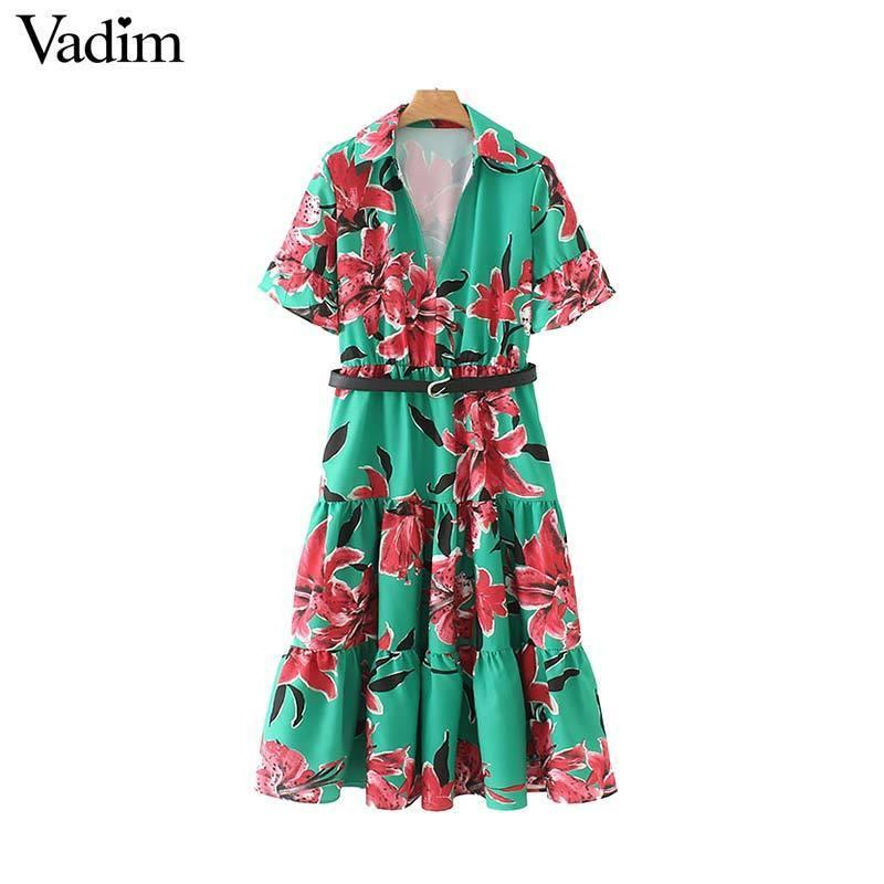 Vadim Women Vintage Floral Print V Neck Midi Dress Sashes Short Flare Sleeve Elegant Mid Calf Dresses Vestido Qb815 Y19071001