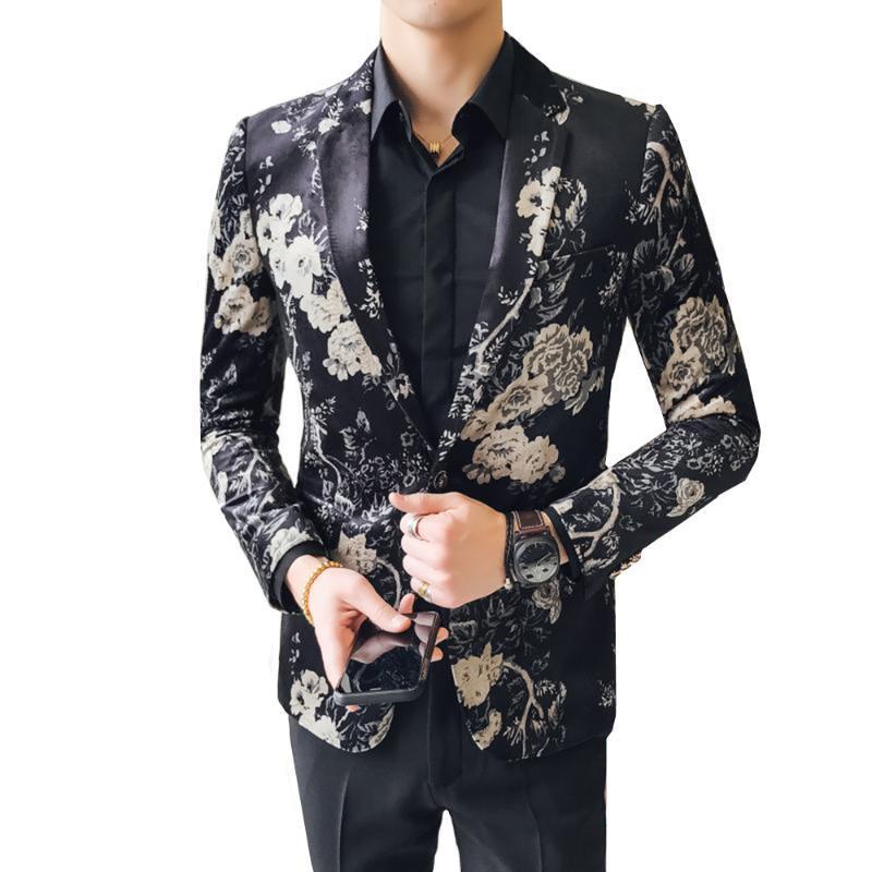 Мужских костюмы Blazer Цветочного костюм куртка Slim Fit Пром Stage платья партии мальчики куртка M-4XL 5XL Большого размера высокого качества Blaser