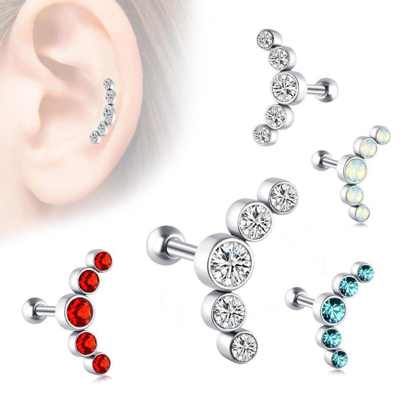 16G Renkli CZ Çiçek Kıkırdak Tragus Bar Stud Kulak Yüzük Vücut Mücevher Helix Tragus Küpe Piercing Mücevher