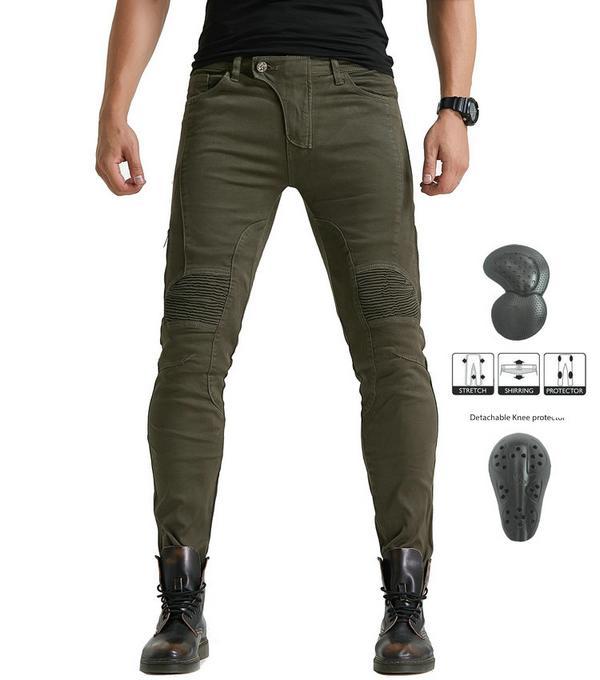 Loong motociclista 114-1 motocicleta equitação calças slim protecção escondido equipamentos de proteção saco calça jeans cavaleiro esportes casuais ciclismo calças verdes
