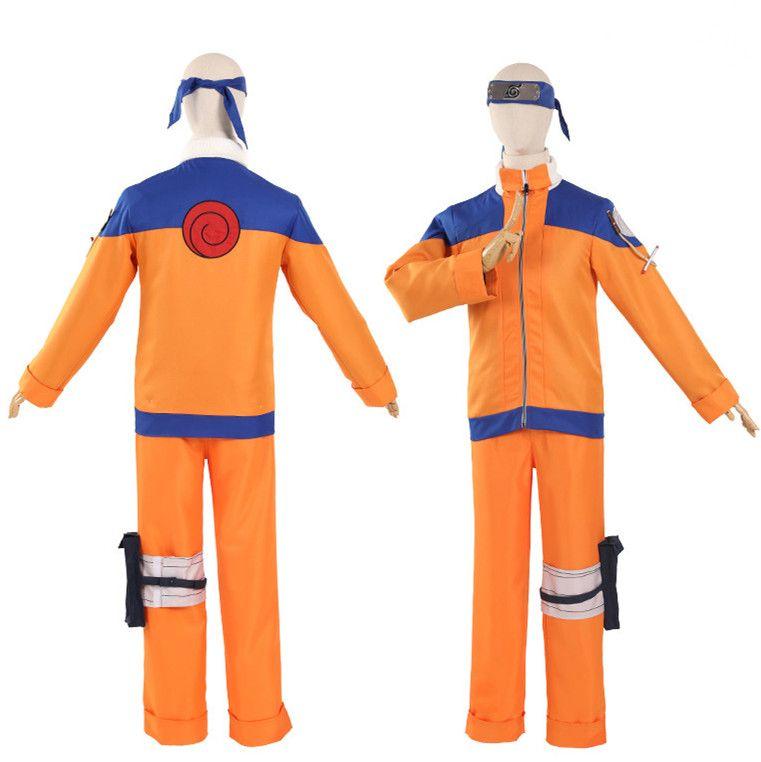 Japan Anime Unisex Uzumaki Naruto Hokage Cosplay Costume Long Sleeve Coat Uniform Full Set ( Asian Size )