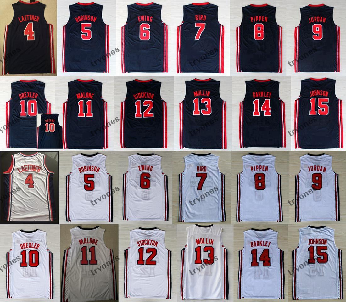 1992 Team One Larry # 7 Bird Basketball Jerseys # 9 Michael Bryant Ewing Pippen Mullin Robinson Drexler Laettner Stockton Malone Johnson Barkley Jersey