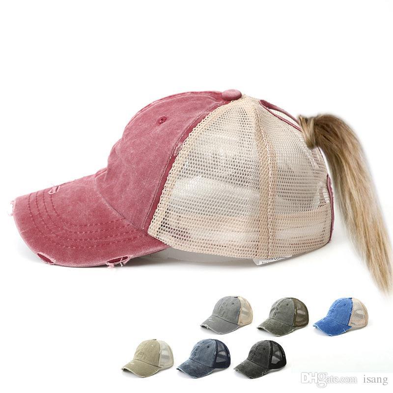7 colori lavati coda di cavallo Baseball Cap Donne Messy Bun Cappellino Snapback Caps Sun superficie netta traspirante Cappelli Casual