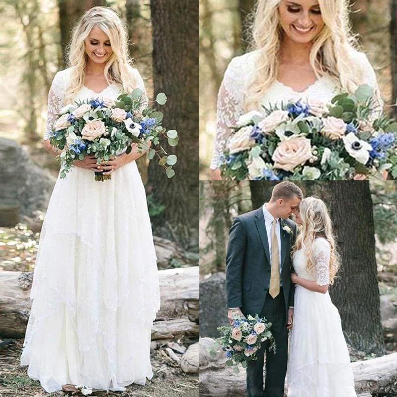 2020 Boho vestidos de noiva Lace V Neck mangas meia A Linha Andar Long Beach Vestidos de noiva vestidos de noiva Robe de mariee BC2987