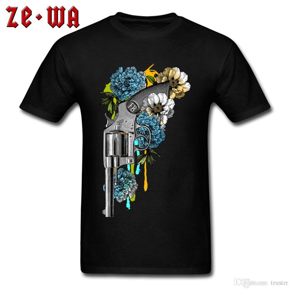 Gun N Blumen-T-Shirt Punky T-Shirt Männer Funky Tops Blumen Punk Style Tops 3D-Grafik-T-Shirt Custom Männer Baumwollkleidung Schwarz