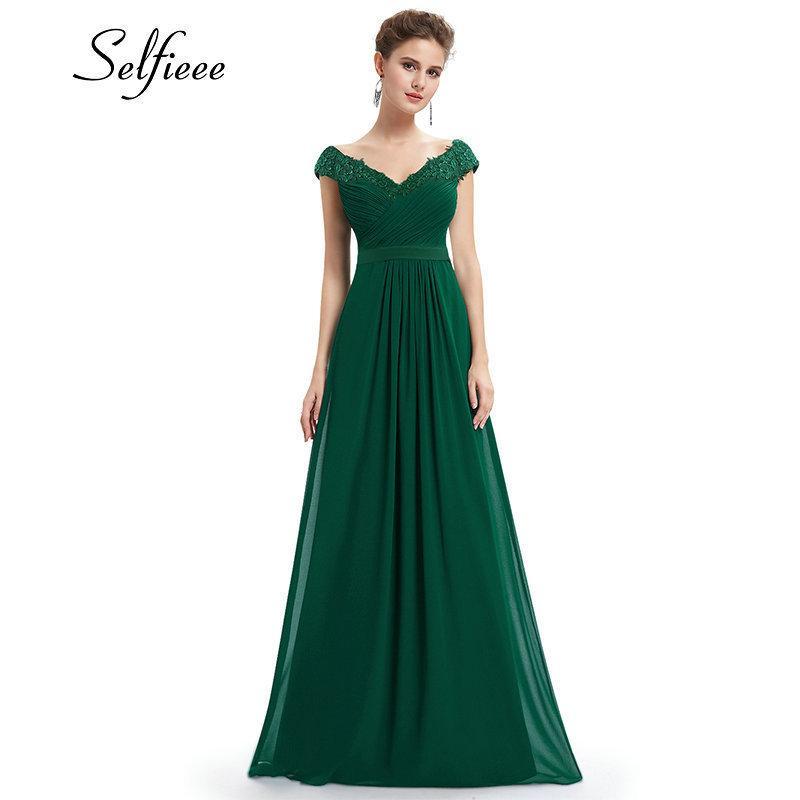 Wedding Party Gowns Plus Size Ladies Lace Dresses Women's Long Elegant V-neck Sleeveless A-line Chiffon Formal Dress Vestidos J190709