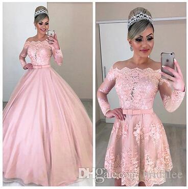 Abiti da sposa da sposa rosa a maniche lunghe con scollo a V e scollo a cuore in pizzo staccabile
