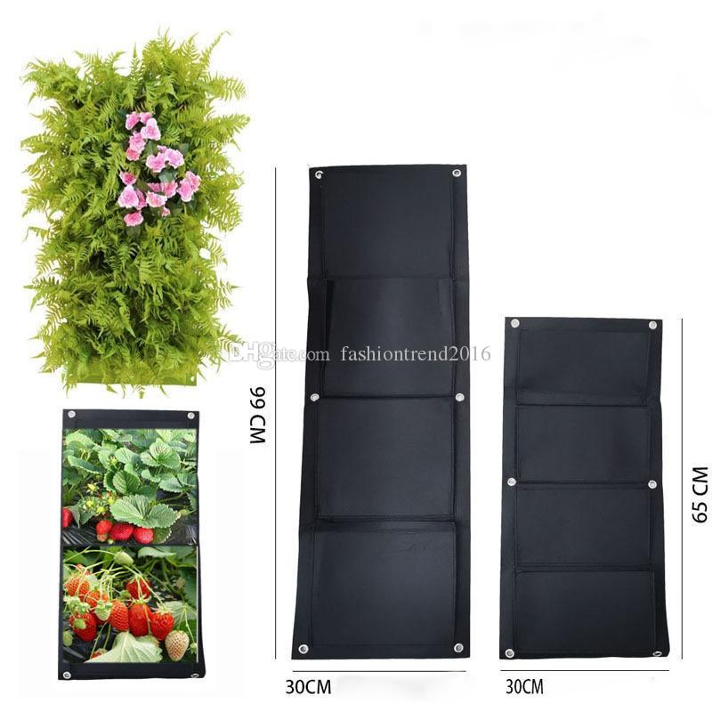 Borse 4 tasche verticali a parete Planter parete Hanging giardinaggio domestico Grow fiore che piantano Living Garden coperto