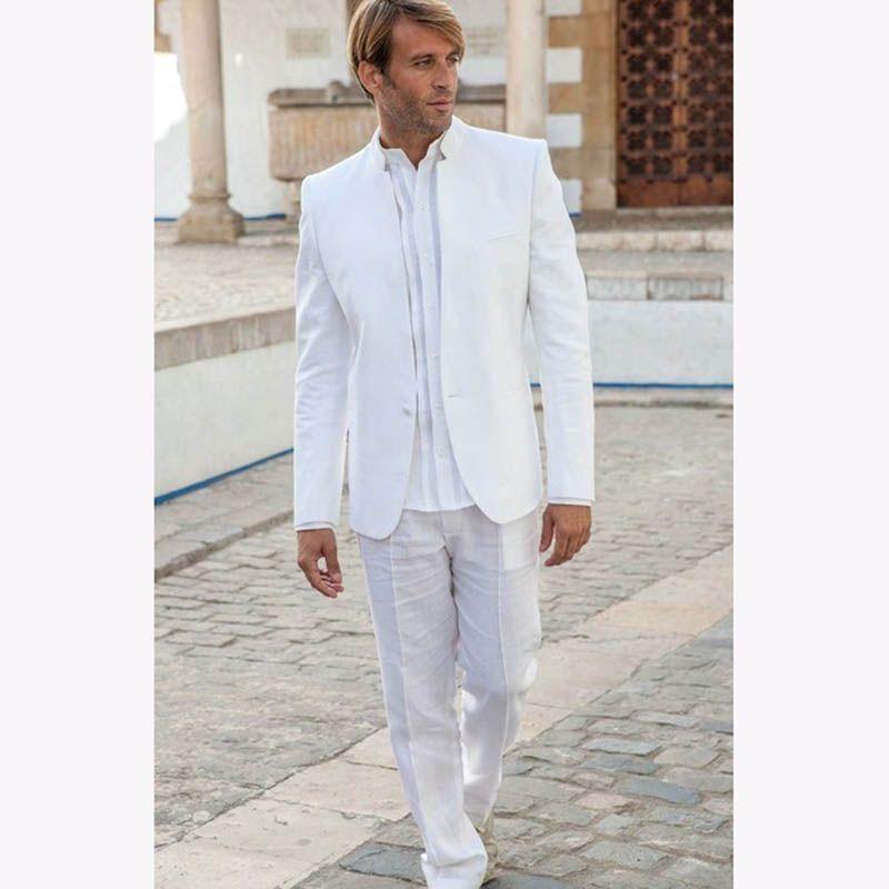2019 Latest Coat Pant Designs white men suit stand collar simple tuxedos vintage mens suits for wedding slim summer jacket+pants