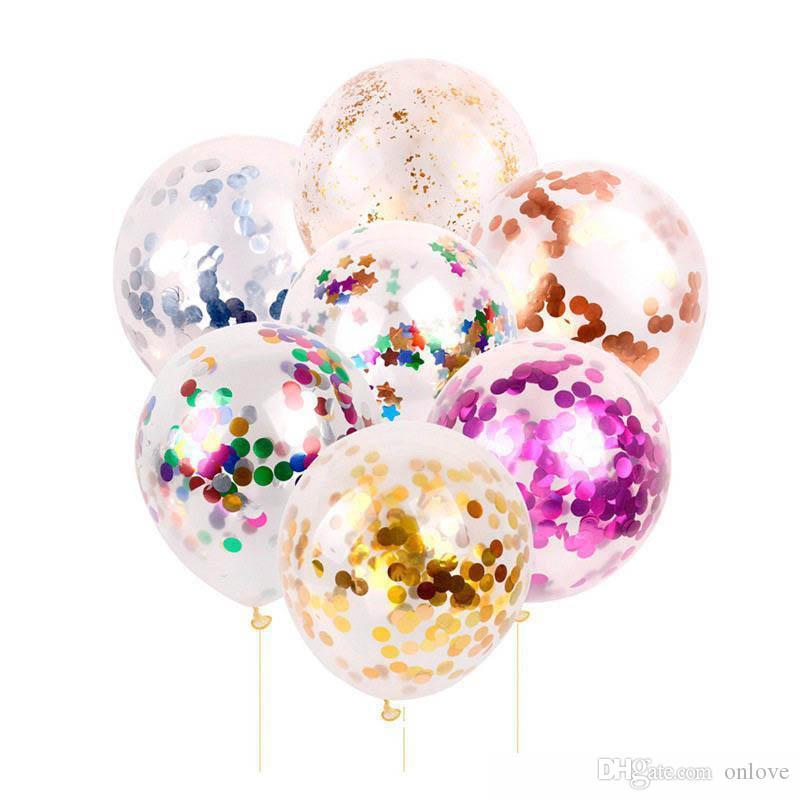 جديد أزياء متعددة الألوان 12 بوصة اللاتكس الترتر مليئة واضحة البالونات لعب الجدة للأطفال جميلة حفلة عيد الميلاد زينة الزفاف XD22472